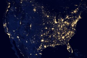The lights of the United States at night