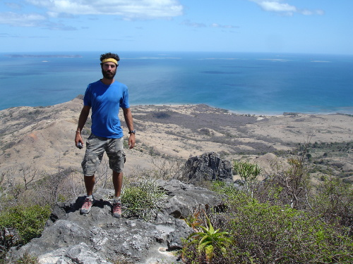 Joe Sertich in the area where Dahalokely was found. Judging by this scene of beaches and ocean, it's the worst place on Earth to do fieldwork, right? Photo by AAF.
