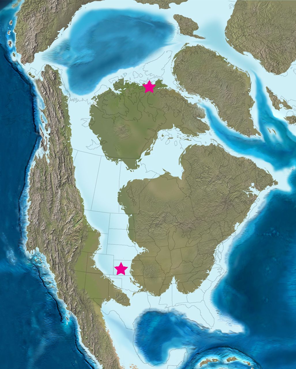 Map showing locations of Hesperornis fossils studied by Wilson and Chin (2014; figure from the paper, modified from original by Blakey).