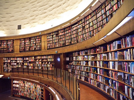 Oh, for everyone to have a library like this on their doorstep! Or at least the electronic equivalent. Stockholm Public Library, photo by Samantha Marx, CC-BY.